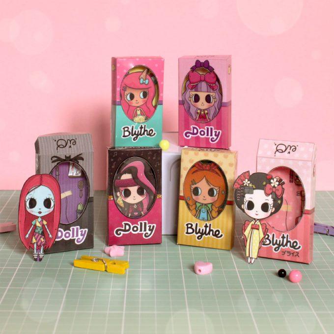 Mini cajitas recortables de muñecas