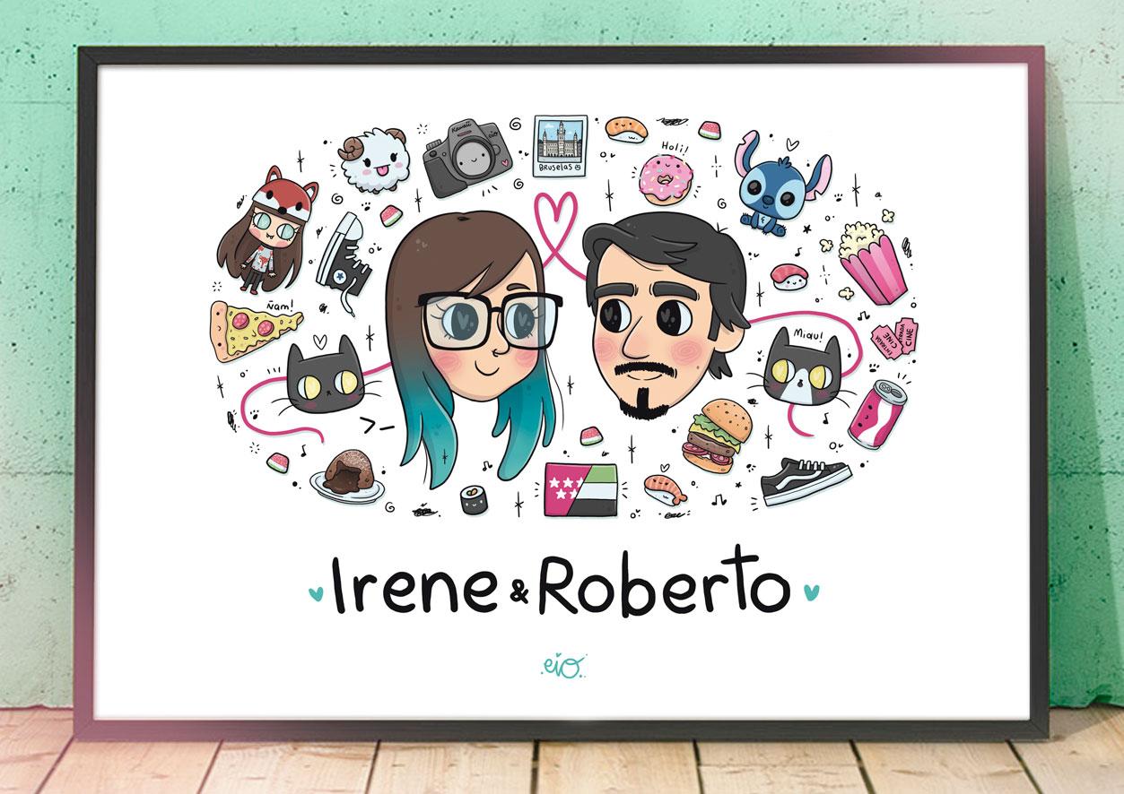 Ilustraciones-personalizadas-caricatura-pareja-regalo-cumpleaños-aniversario-pareja-kawaii-eiO
