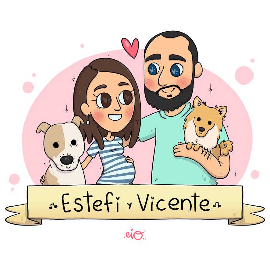 Ilustraciones-personalizadas-regalo-cumpleaños-aniversario-familia-mascotas-kawaii-eiO