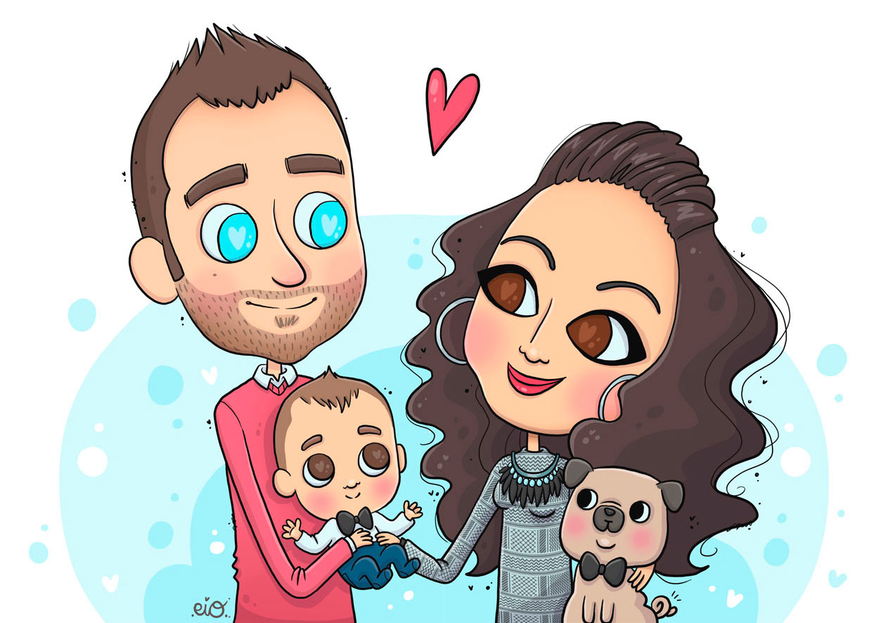Ilustraciones-personalizadas-retrato-caricatura-familia-mascota-regalo-cumpleaños-aniversario-pareja-kawaii-eiO