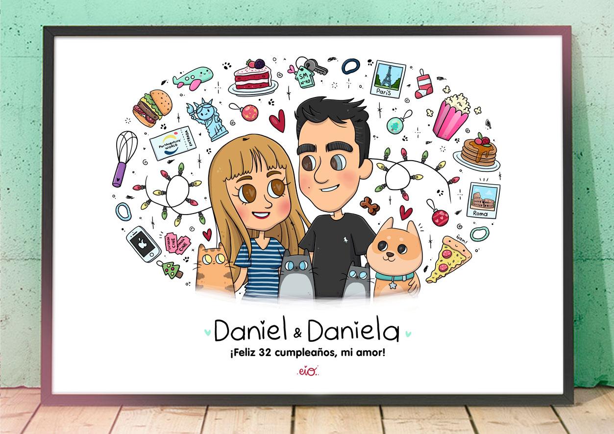 Ilustraciones-personalizadas-retrato-regalo-cumpleaños-pareja-san-valentin-aniversario-pareja-kawaii-eiO