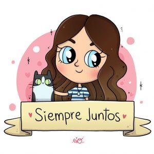 Lámina ilustrada Chica y mascota