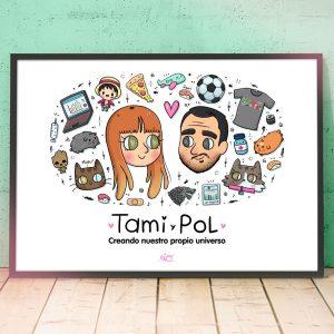 Lámina ilustrada pareja