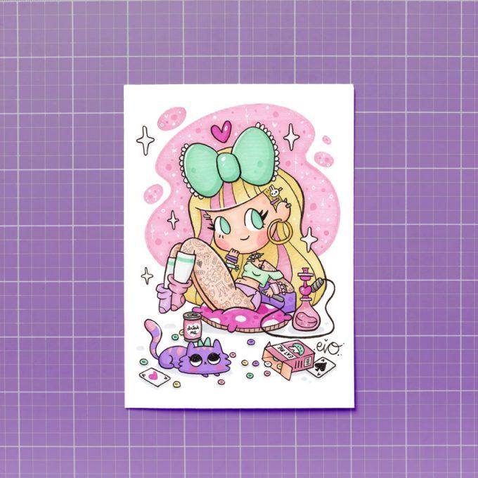 lamina impresa con una ilustración kawaii y dulce de Alicia Wonderland