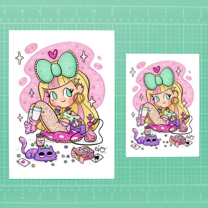 ejemplo de tamaños para la lamina ilustrada de Alicia Wonderland