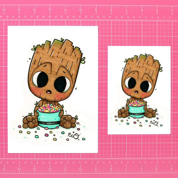 ejemplo de tamaños para la lamina ilustrada de Baby Groot