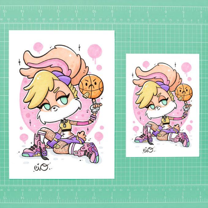 ejemplo de tamaños para la lamina ilustrada de Lola Bunny