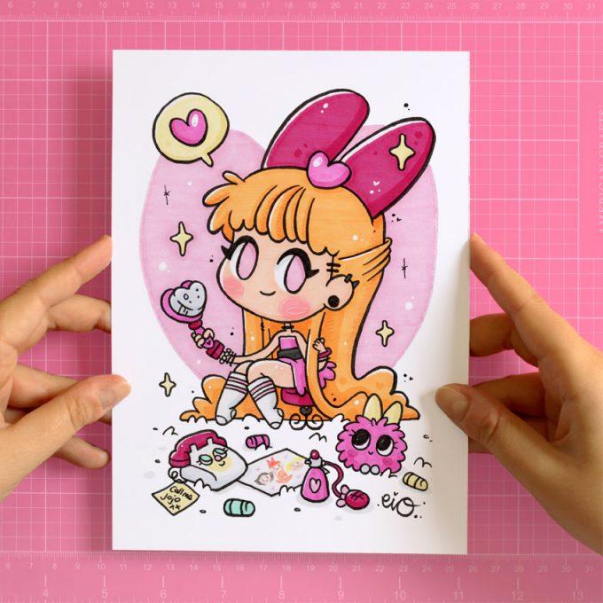 dibujo de la Supernena Pétalo con un estilo dulce y Kawaii