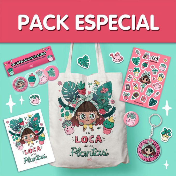 pack especial de ahorro para locas de las plantas con bolso de tela, pegatinas, chapas, llavero y lámina decorativa