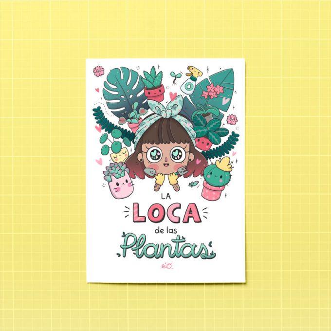 lamina ilustrada kawaii con una chica y plantas alegre sobre papel