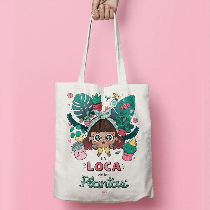 bolso de tela ecológico con ilustración de plantas